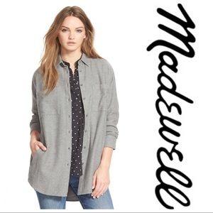 Madewell Gray Oversized Flannel Shirt